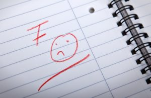 F grade and a sad smilie, written in red letters in a spiral pad, shallow DOF